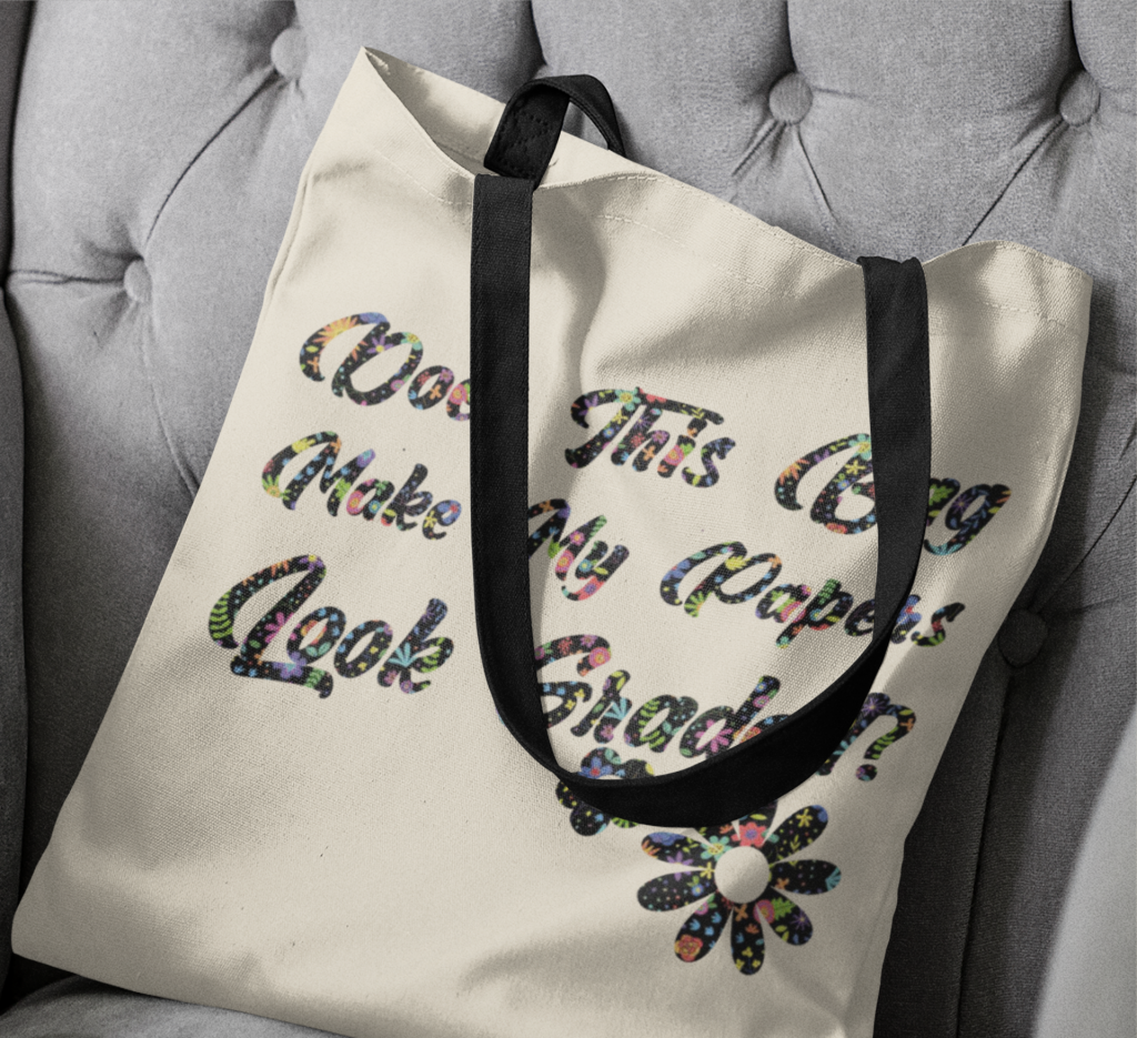 infusible ink tote bag on a chair