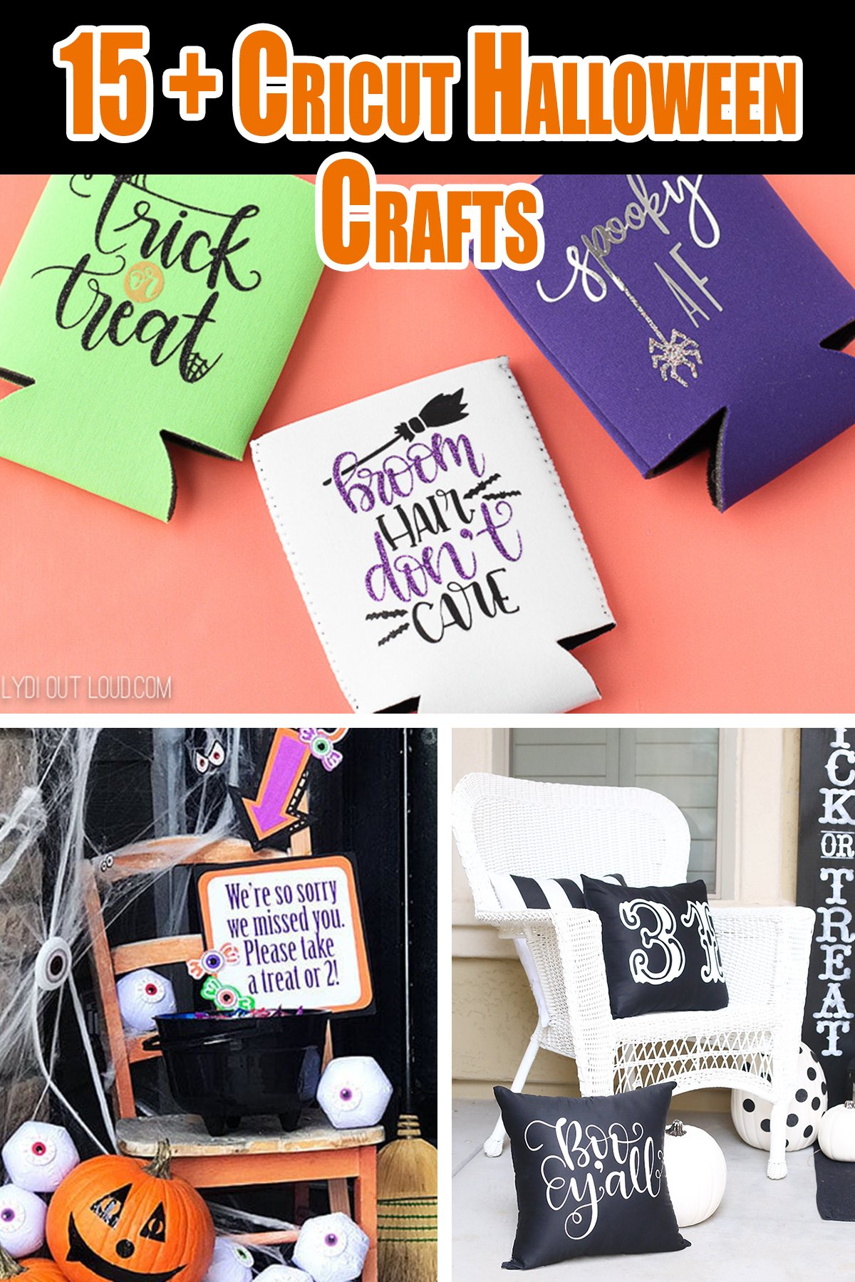 Halloween Cricut Craft Ideas to get you motivated to create some spooky and fun Cricut Crafts this Halloween. Grab your Cricut and let's get crafting. #cricut #Halloween #crafts #ideas #spooky #blackandwhite #decals #decorations #homemade #diy #easy