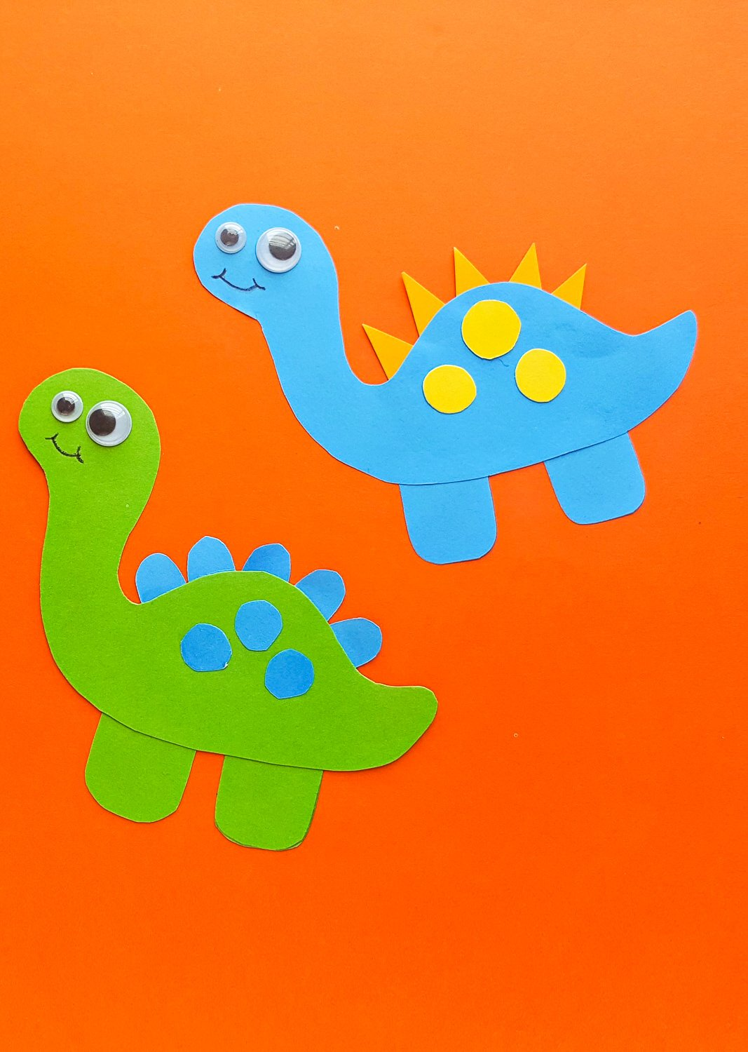 green and blue dinosaur craft for preschool