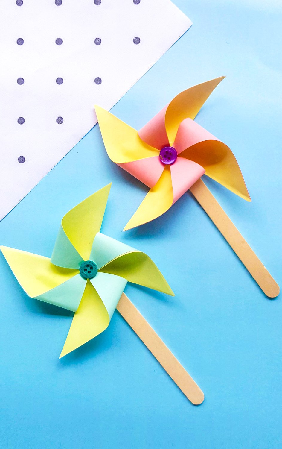 I was looking for a fun and easy, simple craft to keep my little one busy, so I decided to teach her how to make pinwheels. #fun #stepbystep #pinwheels #forkids
