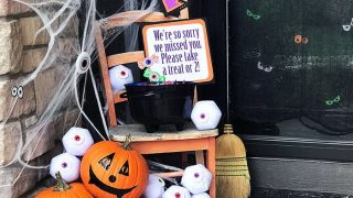 Halloween Front Porch Candy Bucket Decor