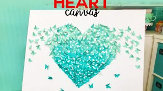 Paper Butterfly Canvas Wall Art Heart on Cricut - Jennifer Maker