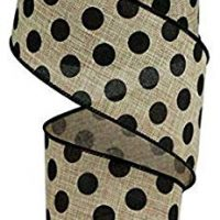 "Wired Ribbon Medium Polka Dot Black on Beige 2.5"" X 10YD"
