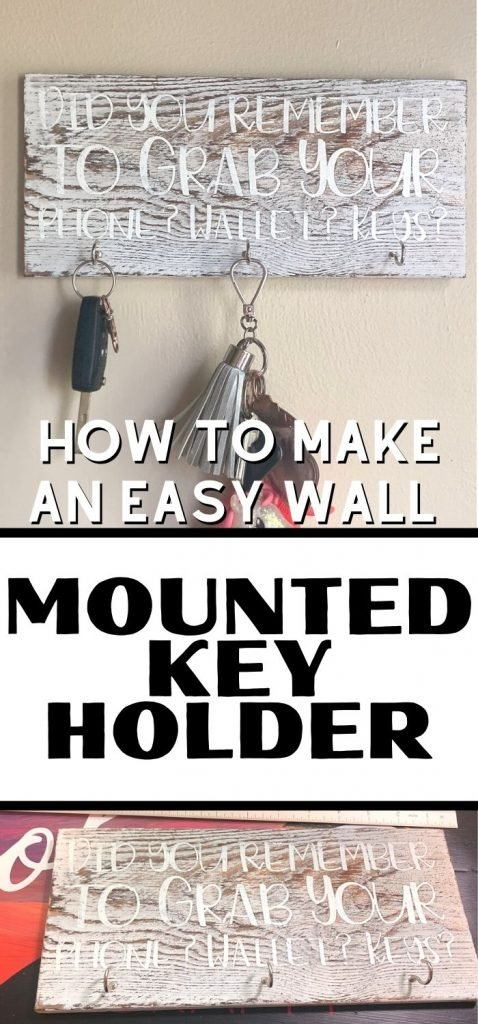 wall mounted key holder with text overlay