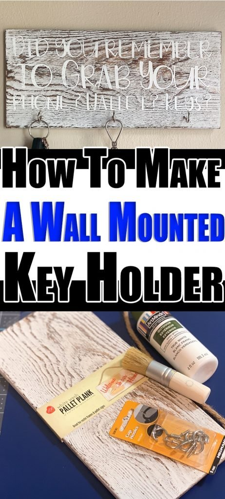 DIY Wall Mounted Key Holder - Pin Image