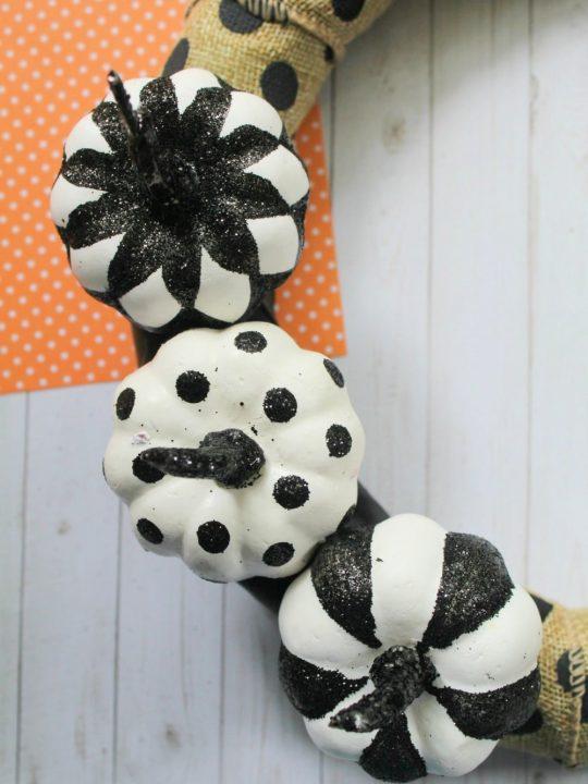 wreath with mini pumpkins