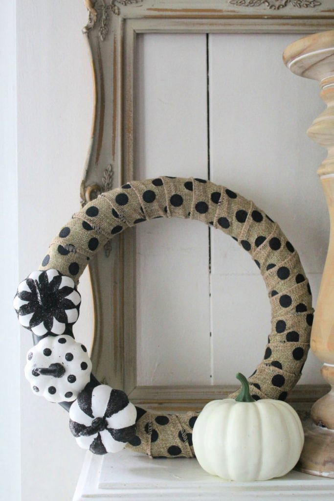 Halloween wreath on mantle
