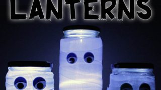 Mummy lantern mason jar craft for Halloween