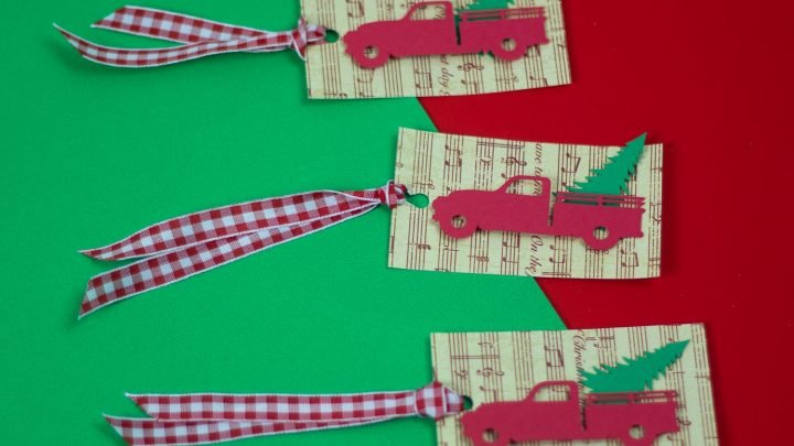 Easy Red Truck Christmas Tags