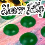 eay diy lush shower jelly recipe with text which reads hot to make diy shower jelly lush inspired