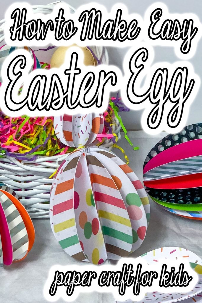 closeup of paper folded like an easter egg with text which reads how to make an easter egg paper craft for kids