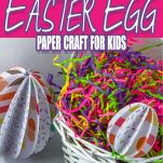 paper easter eggs in an easter basket with text which reads how to make an easter egg paper craft for kids