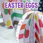 closeup of paper eggs with text which reads how to make these easy paper easter eggs