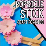 closeup of wreath for spring kids craft with text which reads how to make a spring wreath popsicle stick craft for kids