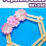 popsicle stick wreath with text which reads how to make popsicle stick kids craft