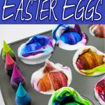muffin tin full of shaving cream and food coloring dying easter eggs in various colors with text which reads shaving cream easter eggs