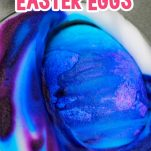 muffin tin of shaving cream and food coloring dying an easter egg blue with text which reads shaving cream easter eggs