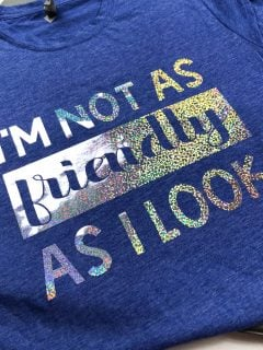 blue t-shirt with iron-on vinyl in holographic vinyl