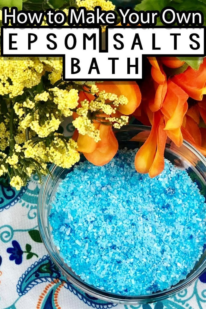 blue bowl of diy bath salts with text which reads how to make your own epsom salts bath