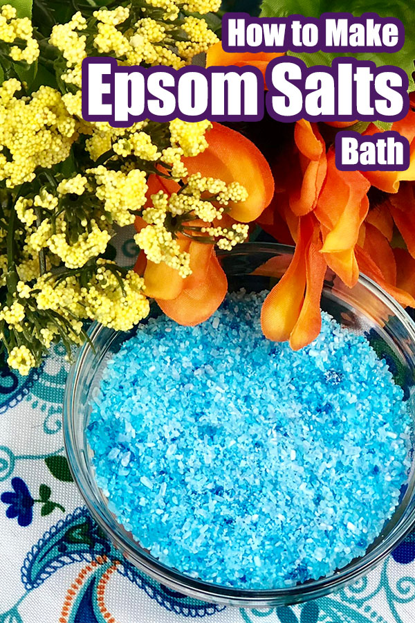 diy colored salt for bath with text which reads how to make your own epsom salts bath