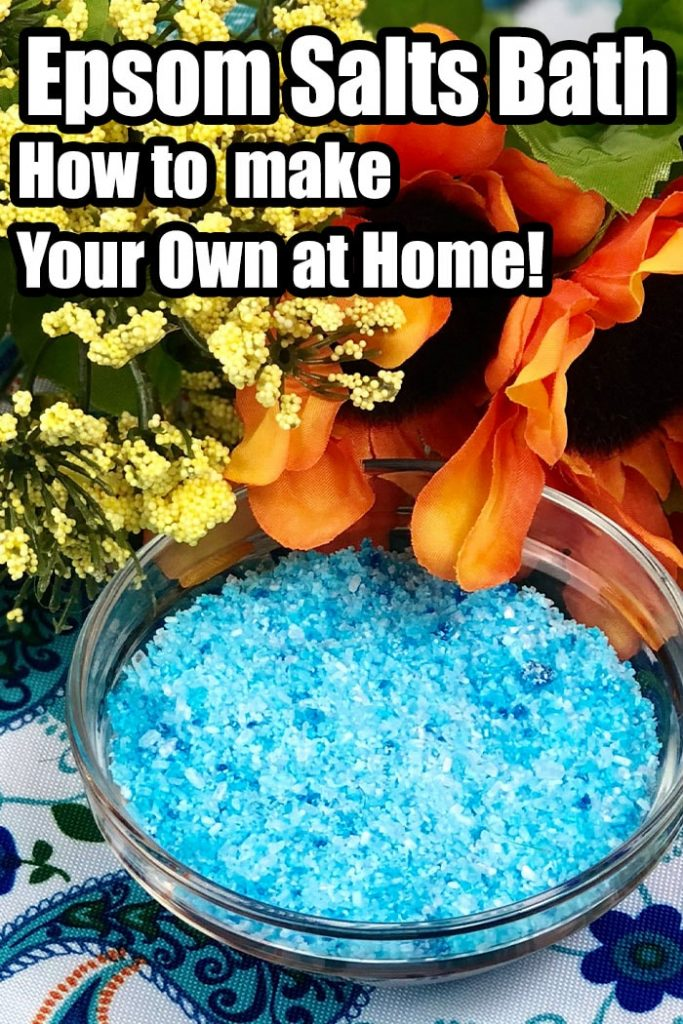 bowl of diy epsom salts with text which reads epsom salts bath how to make your own at home
