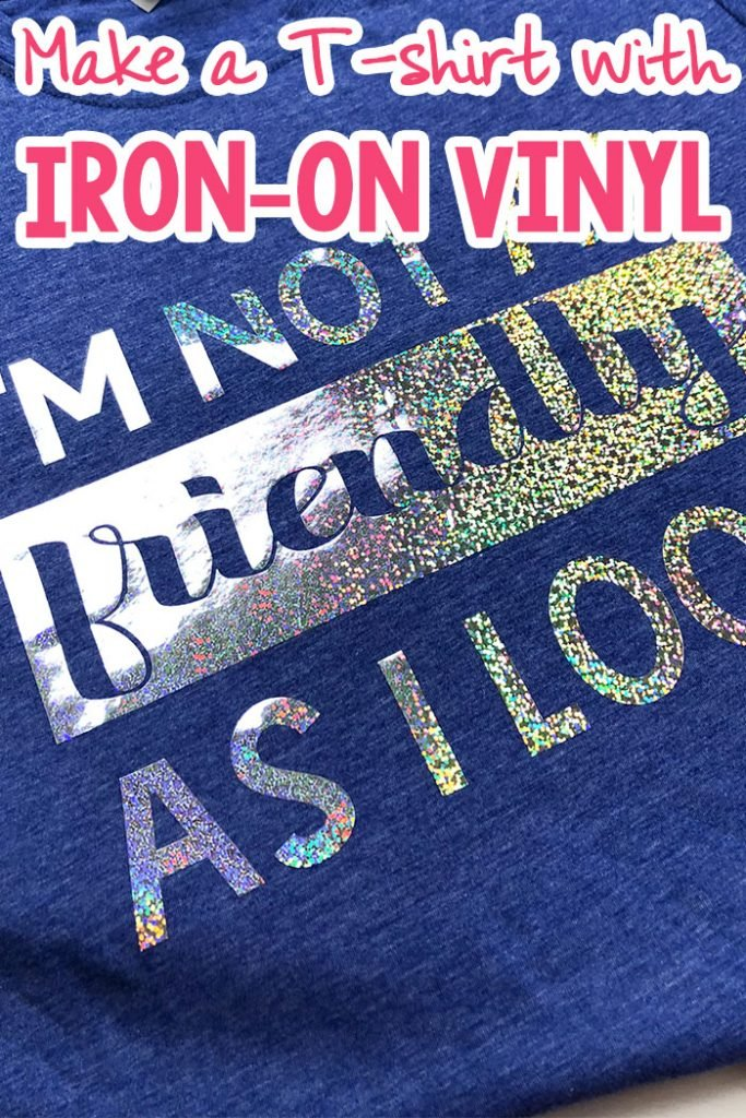 blue t-shirt with silver glittery vinyl lettering with text which reads how to make a t-shirt with iron-on vinyl