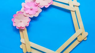 spring wreath kids craft with popsicle sticks