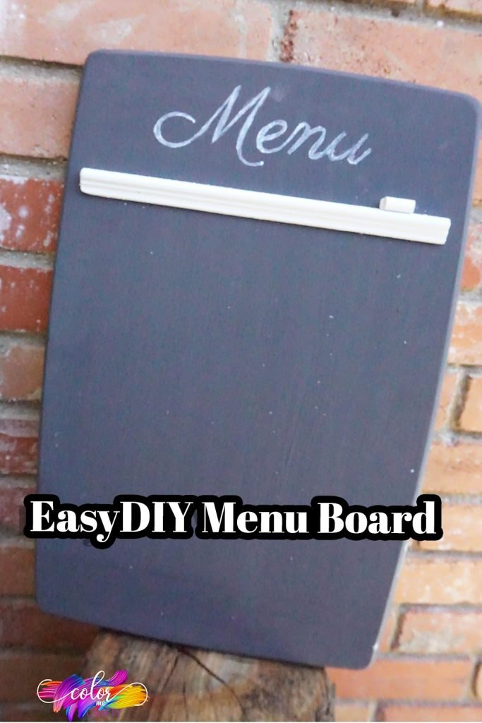 simple cutting board diy upcycle project to make a menu board with text which reads easy diy menu board