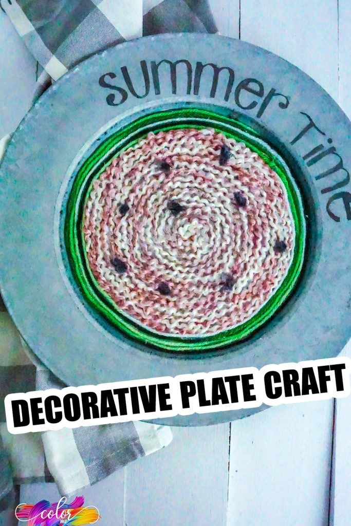 watermelon wreath craft with text which reads decorative plate craft