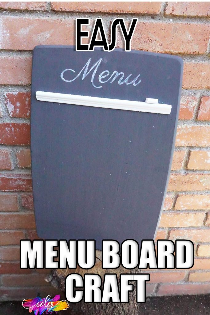 easy farmhouse kitchen decor diy with text which reads easy menu board craft