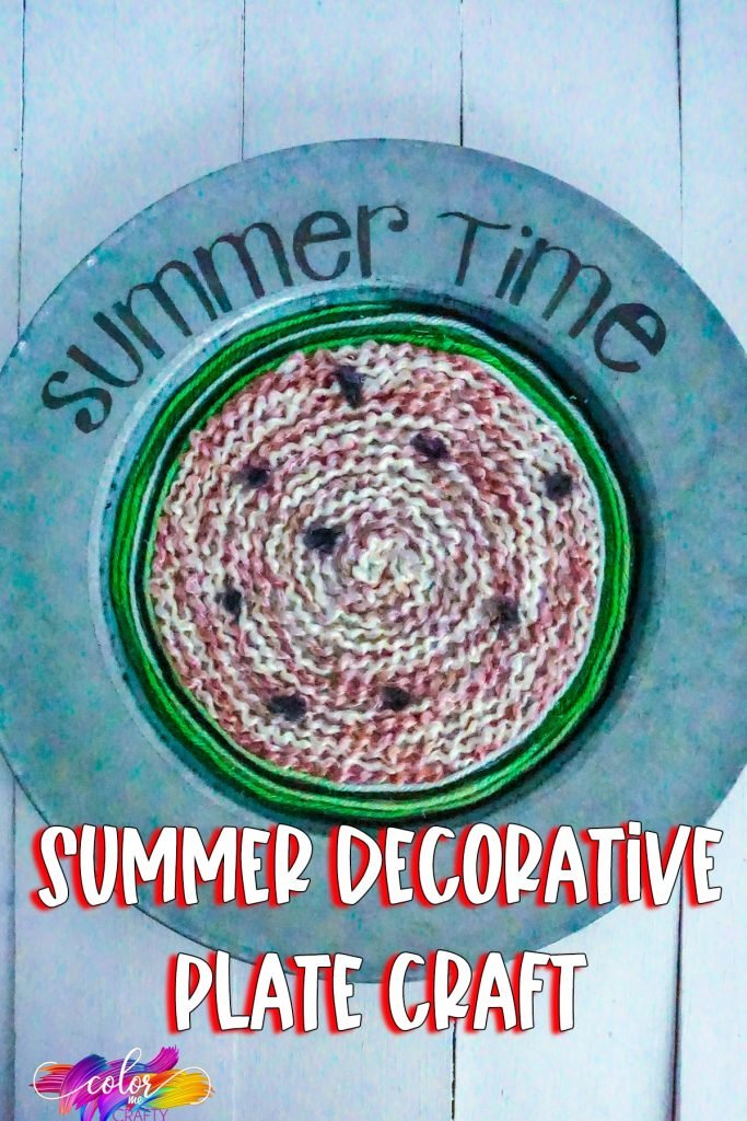 closeup of watermelon wreath craft with text which reads summer decorative plate craft