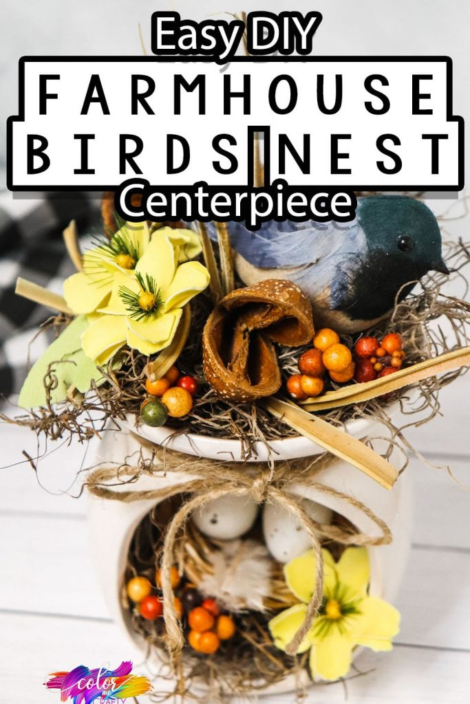 side view of easy upcycle craft idea with text which reads easy diy Farmhouse Bird Nest Centerpiece
