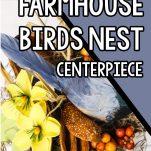 overhead view of diy birds nest craft idea with text which reads easy diy Farmhouse Bird Nest Centerpiece