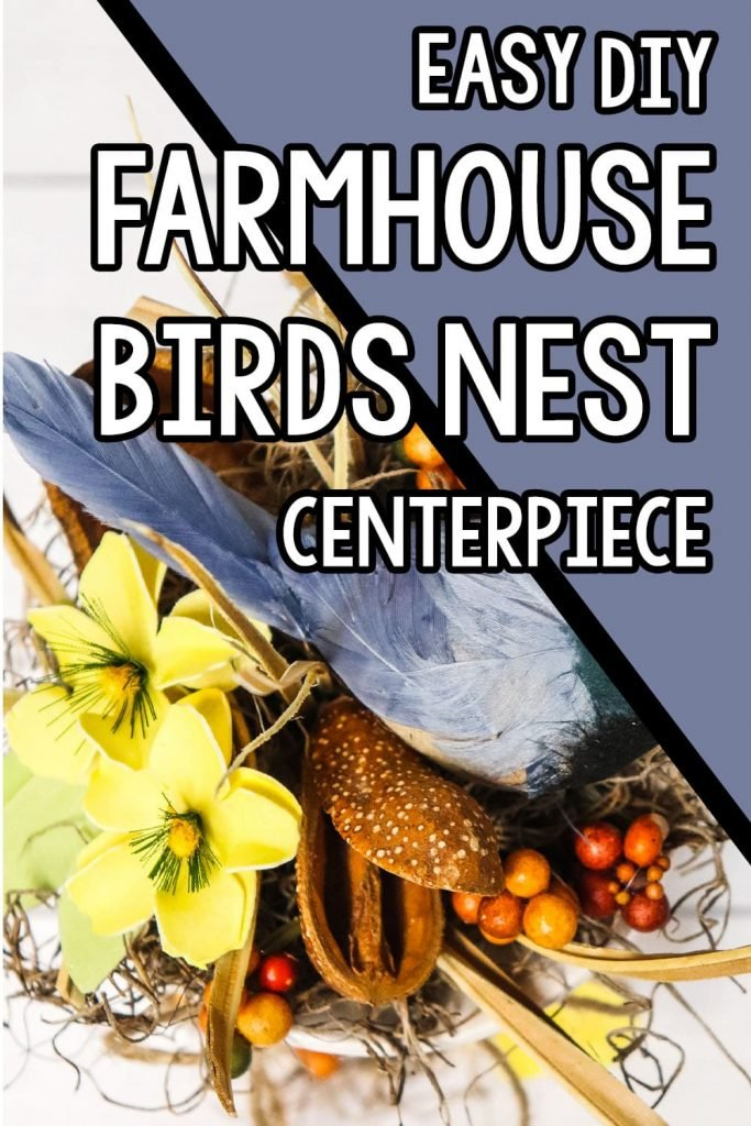 overhead view of diy birds nest craft idea with text which reads easy diy Farmhouse Bird Nest Centerpiece