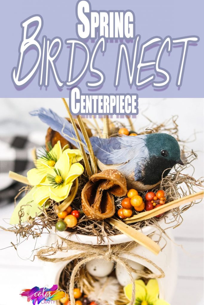 upcycled candle warmer craft with text which reads Farmhouse Bird Nest Centerpiece