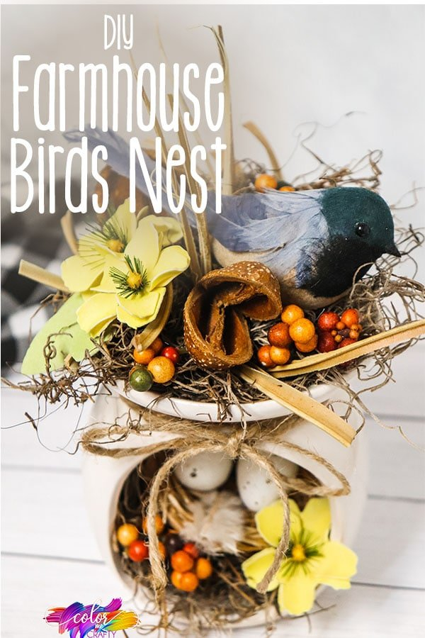 closeup of easy birds next craft idea with text which reads diy farmhouse birds nest