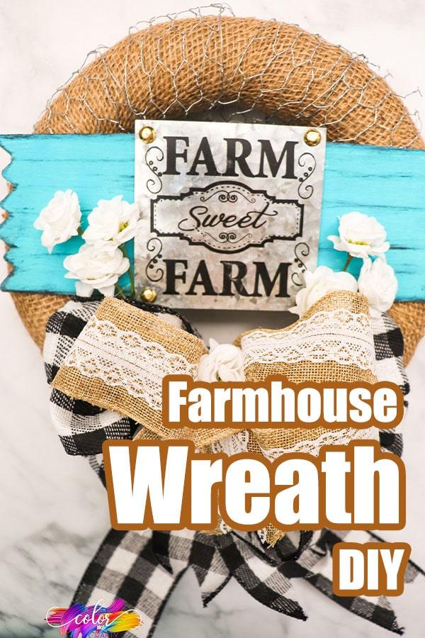 easy burlap wreath for farmhouse decor with text which reads farmhouse wreath diy