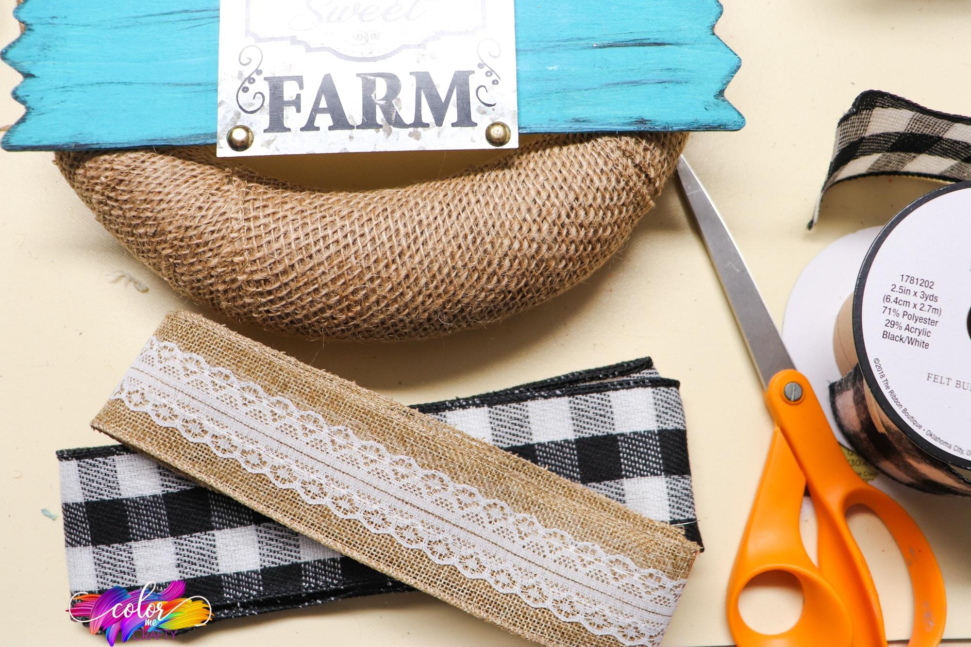 supplies to make a farmhouse wreath
