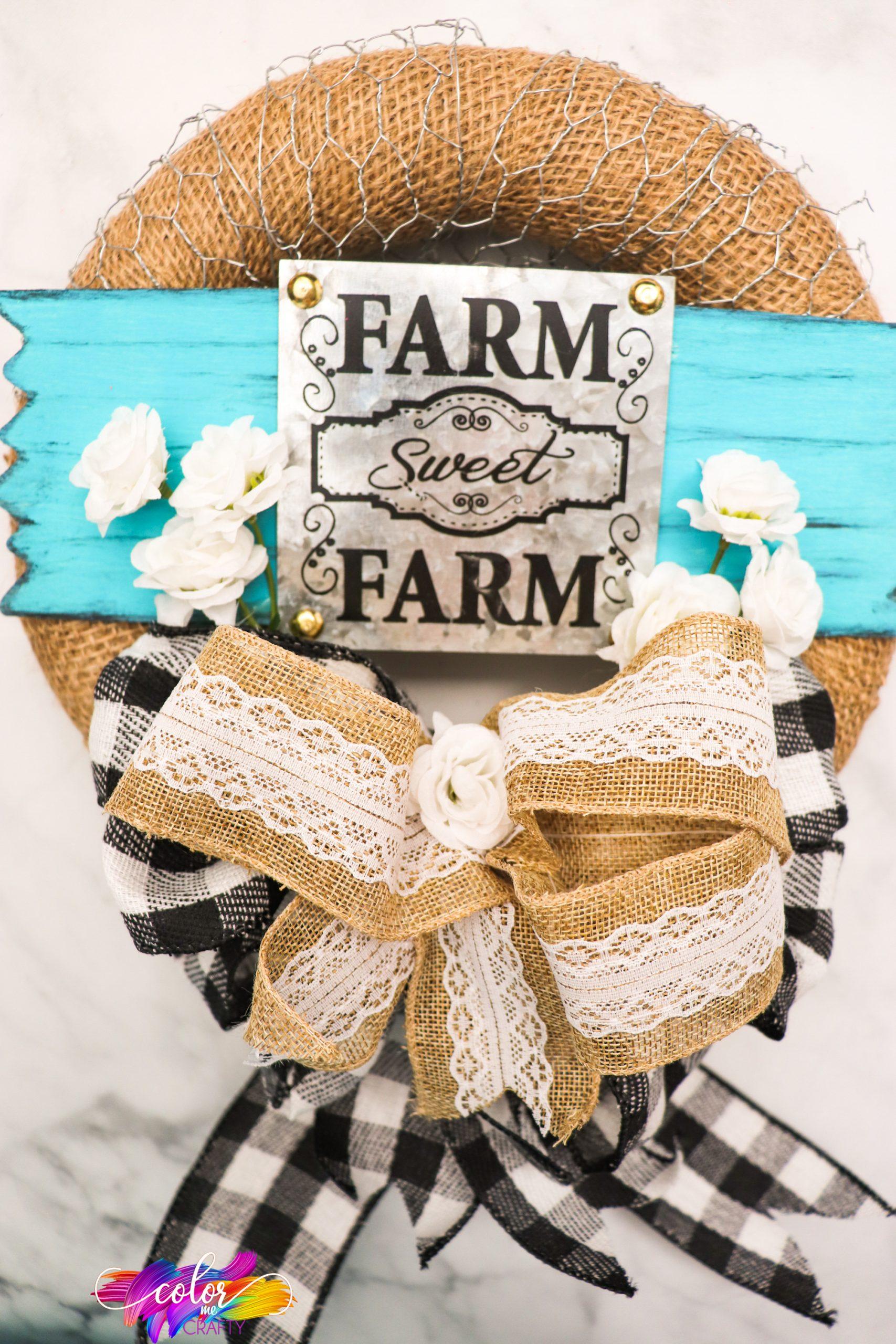 easy wrapped burlap wreath for farmhouse decor