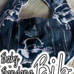 overhead view of easy handmade baby bib with text which reads baby bandana bib