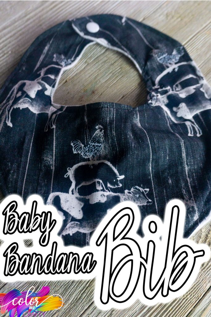 overhead view of easy handmade baby bib with text which reads baby bandana bib
