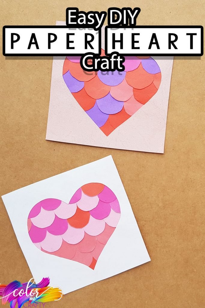 simple heart paper craft with text which reads easy diy paper heart craft