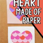 easy paper heart craft with text which reads easy diy heart made of paper