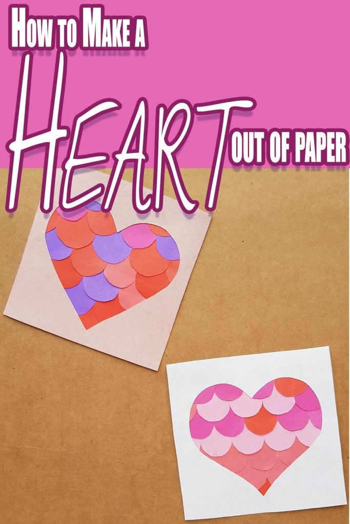easy paper craft idea with text which reads how to make a heart out of paper