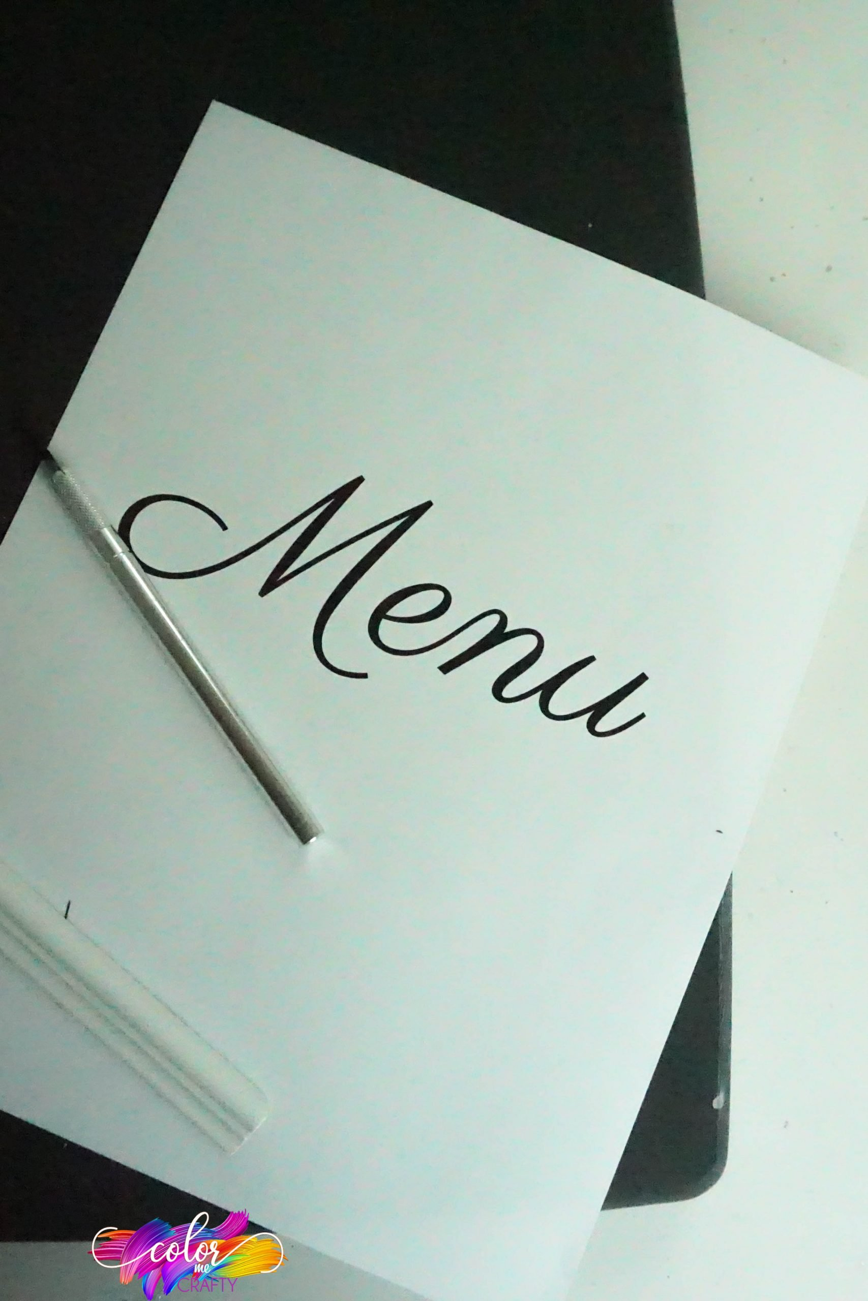 supplies needed to make a DIY menu board from a cutting board