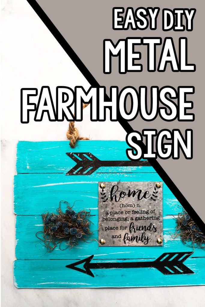 easy diy sign for farmhouse decor with text which reads easy diy metal farmhouse sign