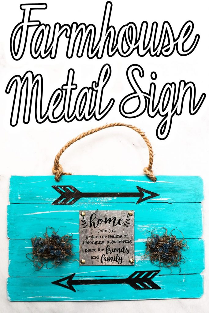blue sign for farmhouse decor with text which reads farmhouse metal sign
