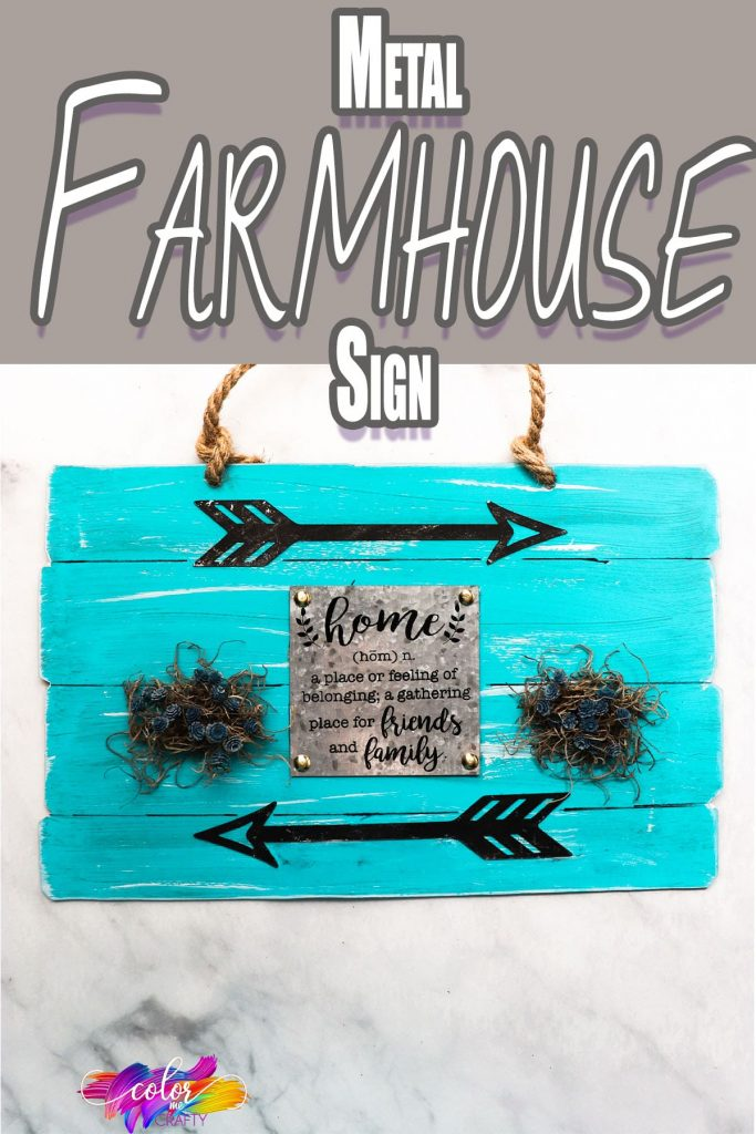 easy turquoise farmhouse decor piece with text which reads metal farmhouse sign