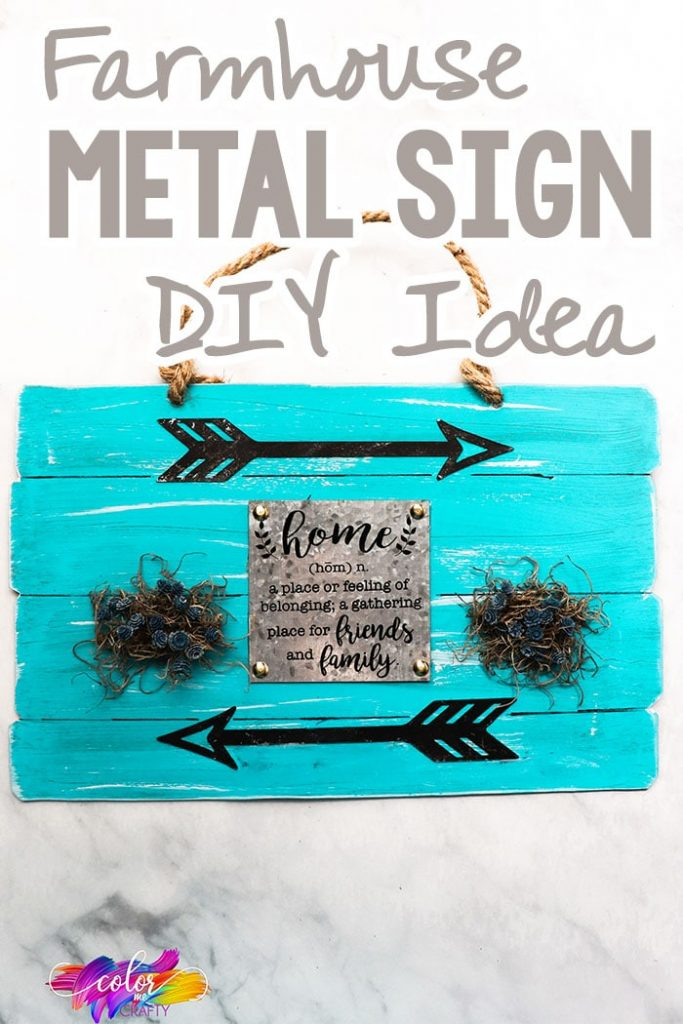 blue farmhouse sign with text which reads farmhouse metal sign diy idea