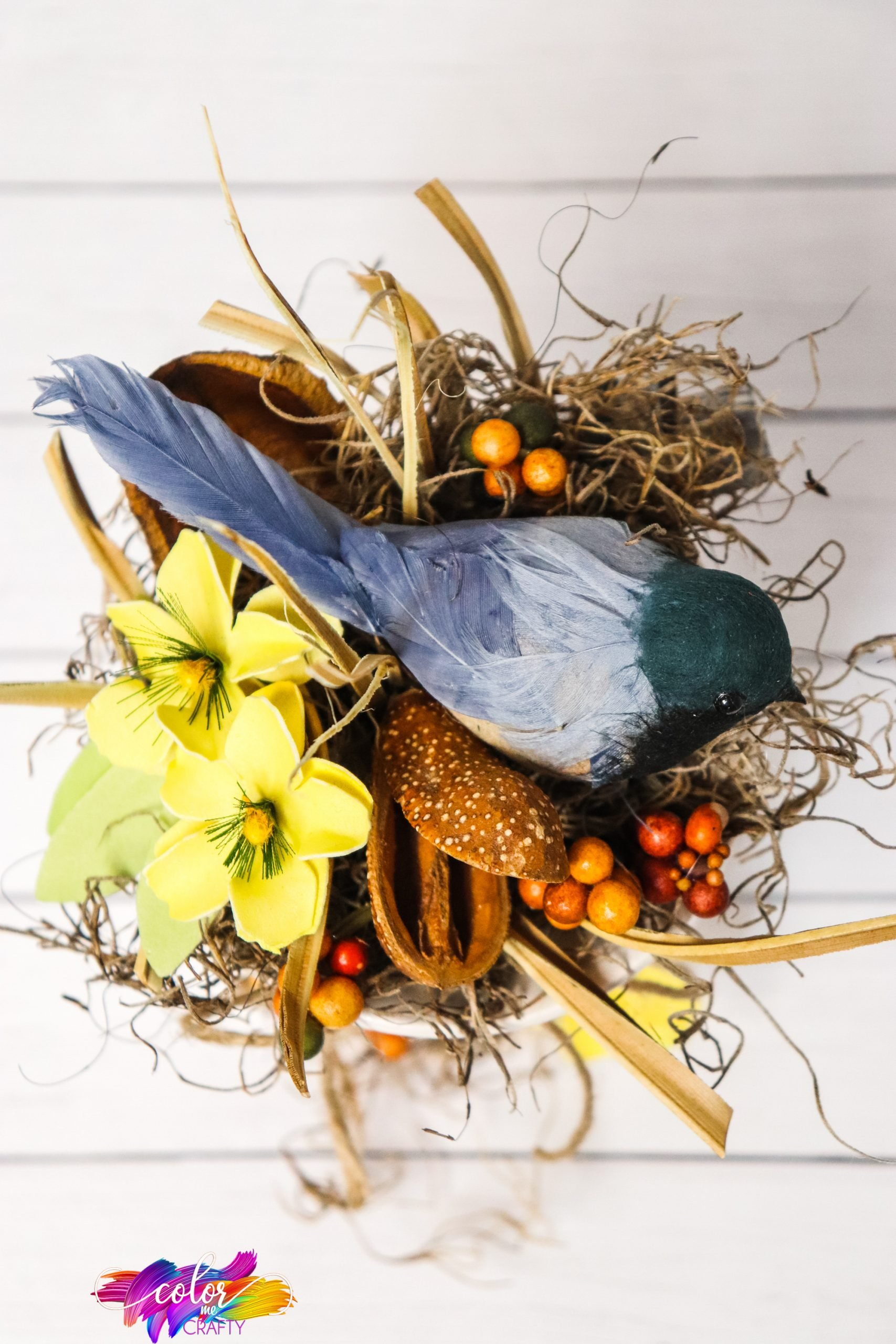 overhead view of diy birds nest centerpiece idea